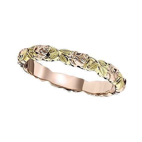 Flower Garland Wedding Band in Pink and Green Gold   Grand