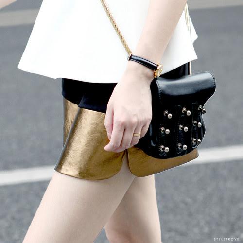 styletrove:  Gold leather spliced velvet shorts. Crazy good.