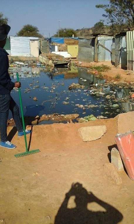 sewage  pumped   open field  lephalale town