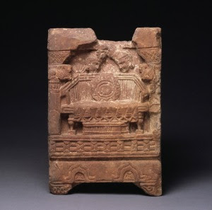 Veneration of the Empty Throne: North India (Mathura, Uttar Pradesh) 100-200 AD Sandstone, carved relief