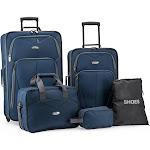 Elite Luggage EL08094N Whitfield 5 Piece Softside Lightweight Rolling Luggage Set Navy