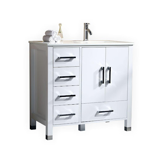 ANZIANO 36″ WHITE VANITY W/ WHITE QUARTZ COUNTERTOP AND UNDERMOUNT SINK – LEFT SIDE DRAWERS