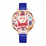 (Blue) - Lljin Women Watch Christmas Leather Band Analogue Quartz Vogue Wrist Watches Gift