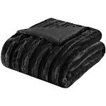 Madison Park Duke Brushed Long Fur Throw Black