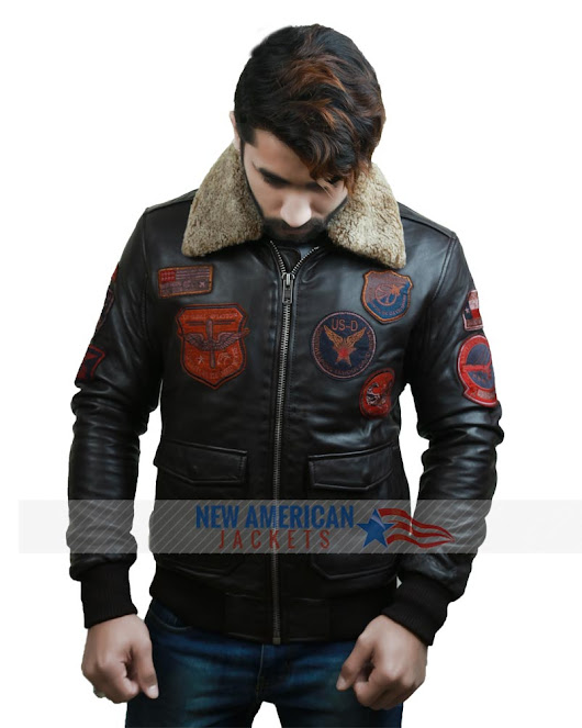Top Gun Bomber Brown Flight Leather Jacket - New American Jackets
