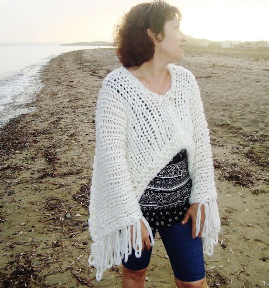 Hand Knit Poncho in Ivory Cream poncho shawl by earflaphats