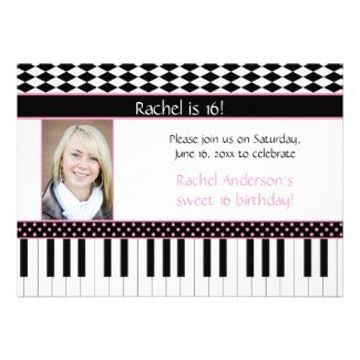 Pink Black Piano Theme Sweet 16 Birthday