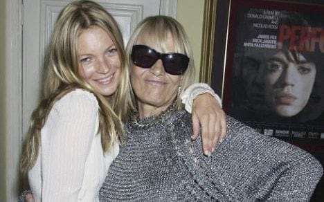 "Model Kate Moss and actress Anita Pallenberg attend a private screening of classic film ""Performance"" in 2004"