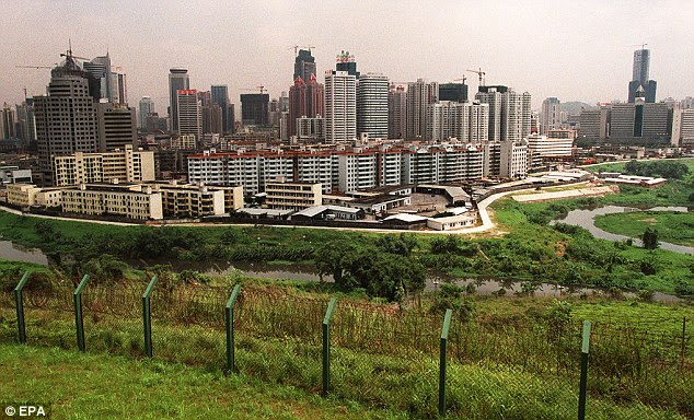 The border between Shenzhen and Hong Kong