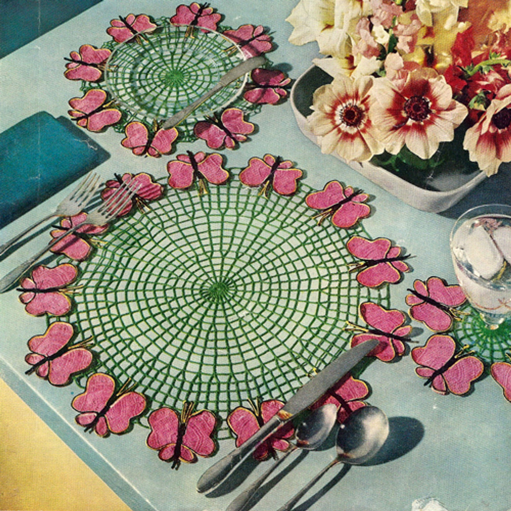 Crochet Butterfly Luncheon Set in Pink and Green