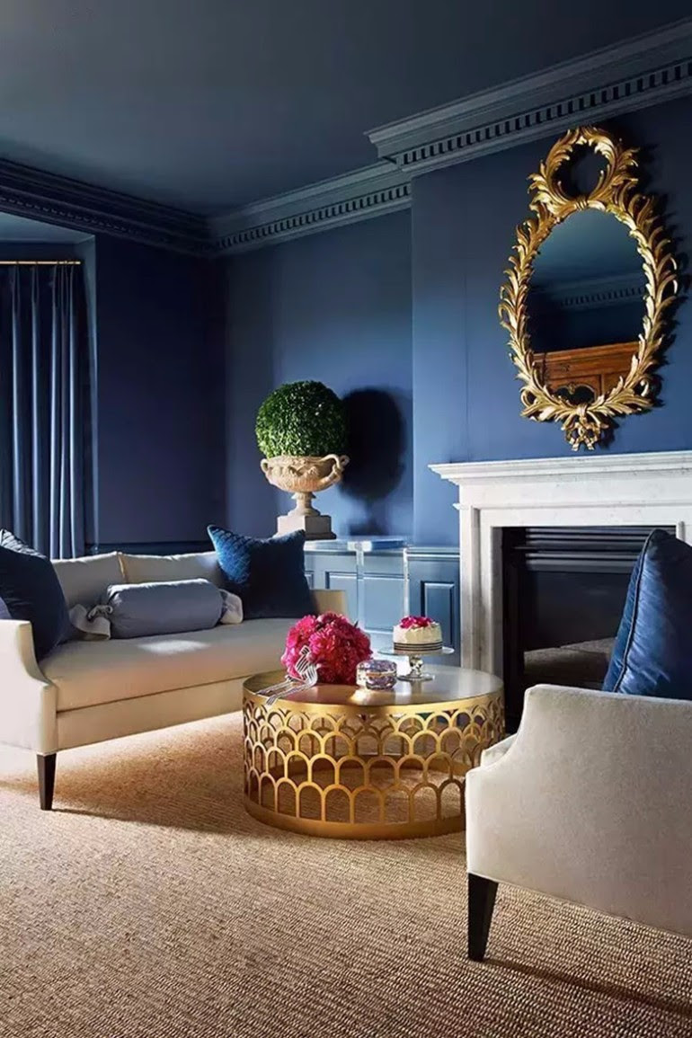 Modern Living Room With Navy Blue Walls Living Room Ideas