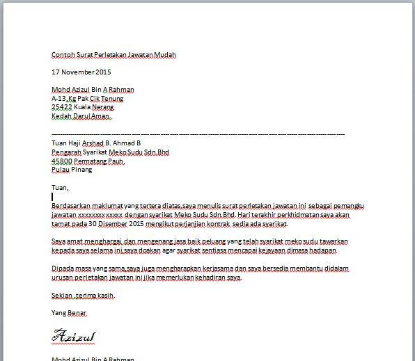 Contoh Surat Minta Kerja Jawatan Kosong Bahasa Melayu