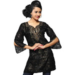 Indian Selections Black Kurti Brasso Fabric w/ Contrast Colored Satin Liner and handowrk-Medium