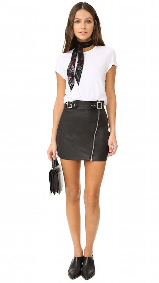 Le Fashion Blog Spring Pieces For Your Wardrobe White Tee Shirt Black Leather Skirt Via Shopbop