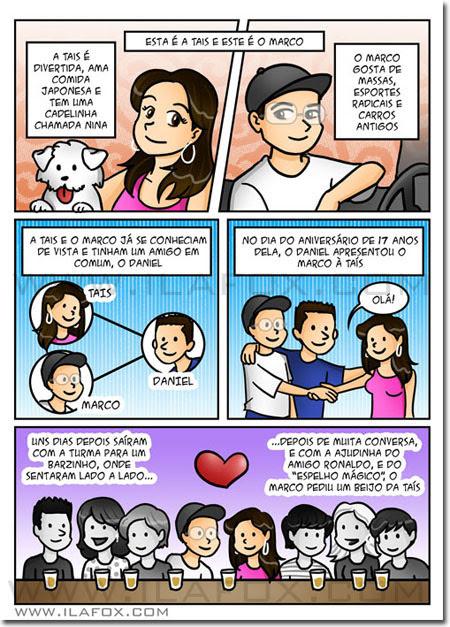convite em história em quadrinhos personalizados para casamento, história noivinhos, São Caetano do Sul, São Paulo, by ila fox