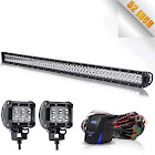 TURBOSII DOT Approved 52 Inch 300W Flood Spot Offroad LED Work Light Bar + 4 inch 18W Pods, Cube Driving Fog Lights On Grill Roof Windshield