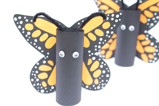 Paper Roll Monarch Butterflies - One Little Project
