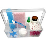Evelots Cosmetic Organizer-Handle-Durable Clear Acrylic-4 Sections-Makeup/Brush