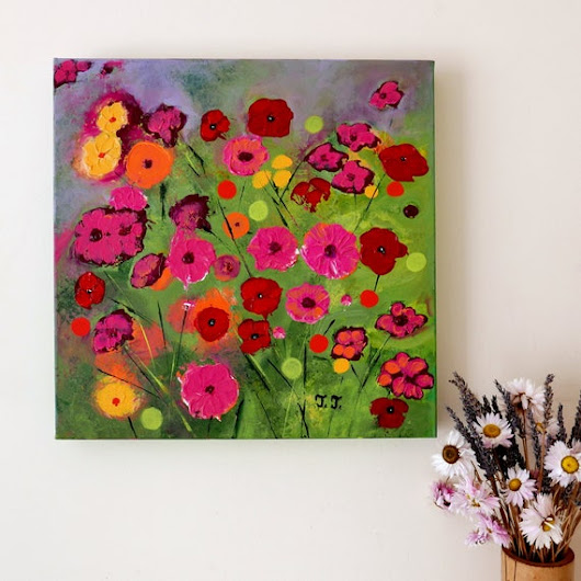 Poppy Painting Purple Flowers Artwork Red Floral Art Pink