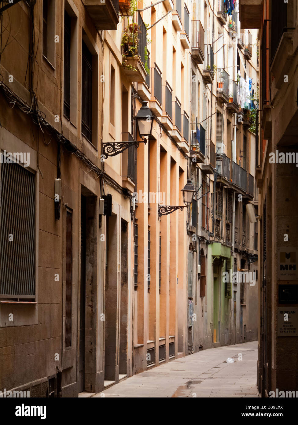 Empty side street or alley in the Gothic Quarter of ...