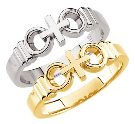 """Joined by Christ ®"" Cross Wedding Rings in White or"