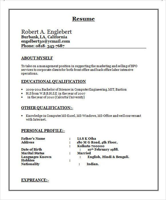 resume format  resume format download for bpo