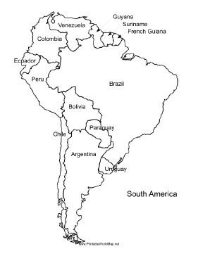 Handbook: A printable map of South America labeled with