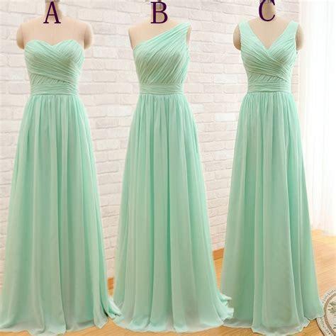 Elegant Cheap Long Mint Green Bridesmaid Dresses 2016