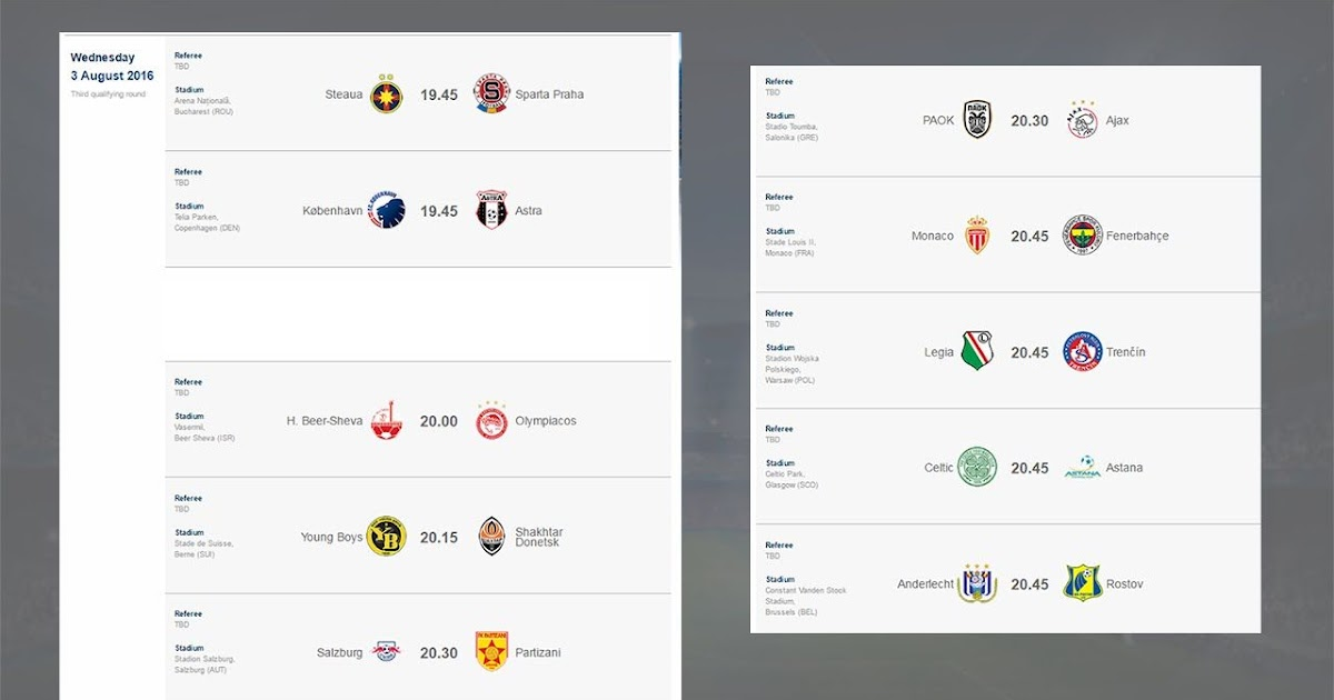 Champions League Fixtures And Table - Kizziwalob