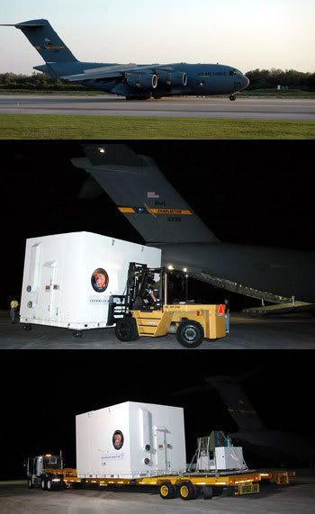 A photo montage showing the crate carrying Phoenix, as it is being unloaded from the C-17 cargo plane that transported it from Colorado to Kennedy Space Center in Florida.