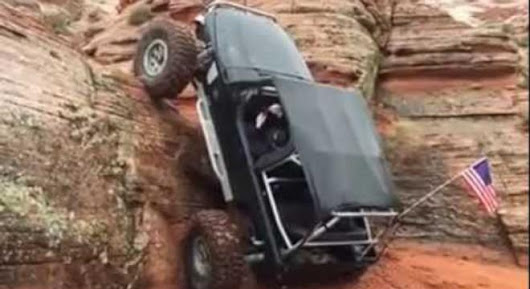 Jeep Somehow Drives Straight Up