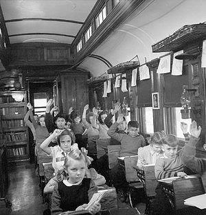 Canadian School Train. Pupils of Indian, Finni...