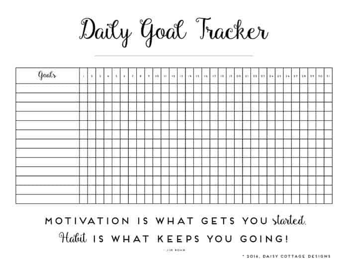 Daily Habit Tracker: A Printable Goal Tracker - Daisy Cottage Designs