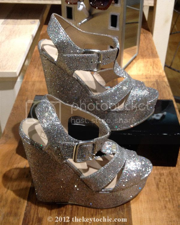 Topshop silver glitter wedges