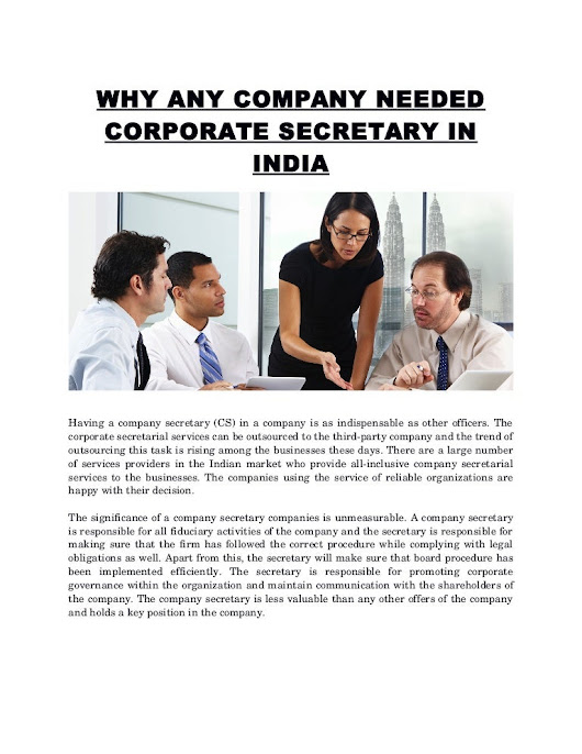 Why any company needed corporate secretary in india
