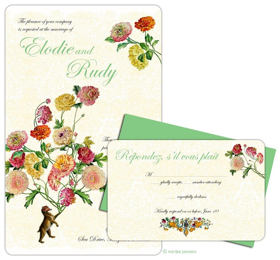 Lucy in the sky with flowers - wedding invitation sample set
