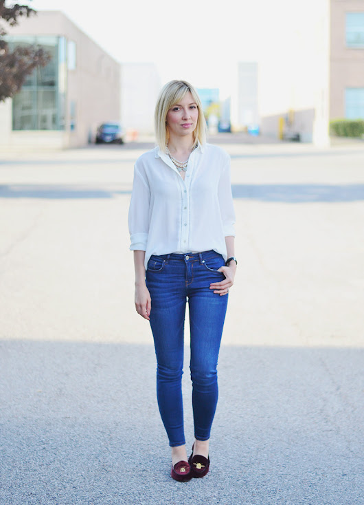 Velvet Loafers x White Blouse for Fall | Stripes 'n' Vibes