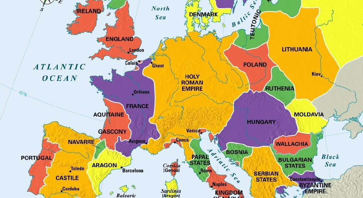 map of europe 14th century 14Th Century Middle Ages Europe Map