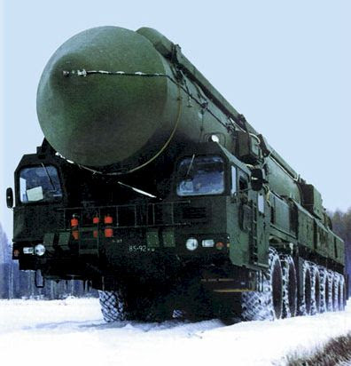 Russian SS-27 Topol-M Mobile Nuclear ICBM (11,000km range = about 6,840 miles) with 600 kiloton warhead - 36 units deployed