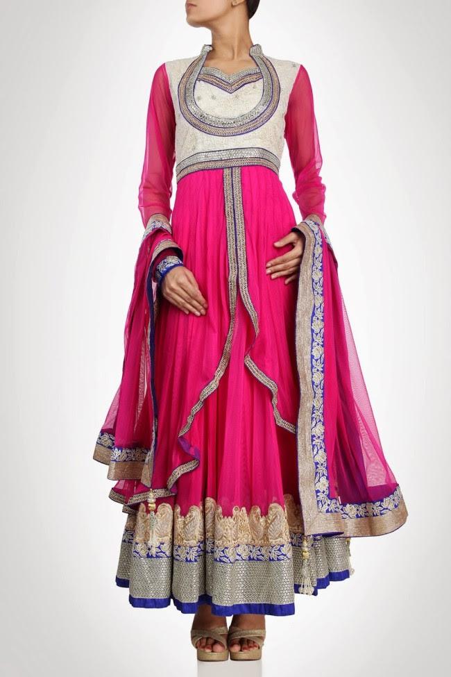 Beautiful-Gorgeous-Wedding-Bridal-Anarkali-Frock-Dresses-for-Girls-Fashion-by-Designer-Kiran-&-Shruti-Aksh-2