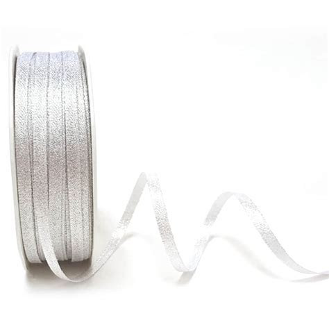 Bright Silver Sparkle Satin Ribbon 3mm   Artcuts