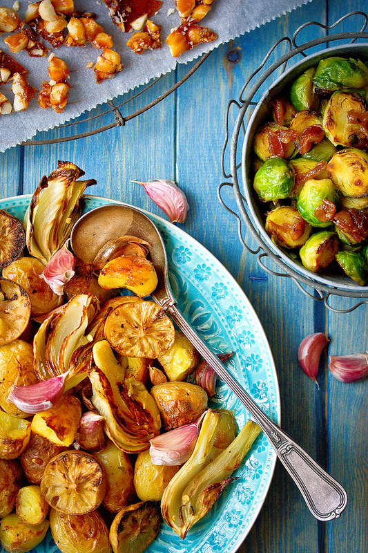 Potato, lemon&fennel crackle bake// Golden brussels, sticky dates&sherry vinegar
