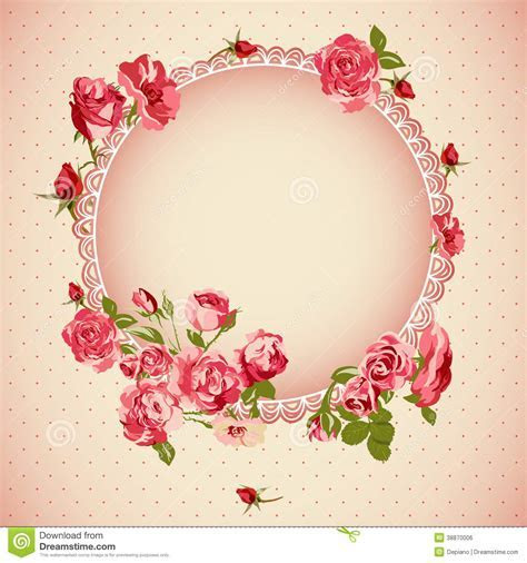 Vintage Floral Lace Background With Roses Stock Vector