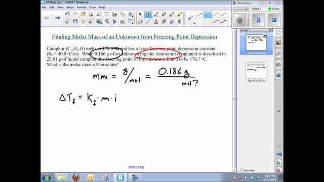 Molar Mass from Freezing-Point Depression on Vimeo