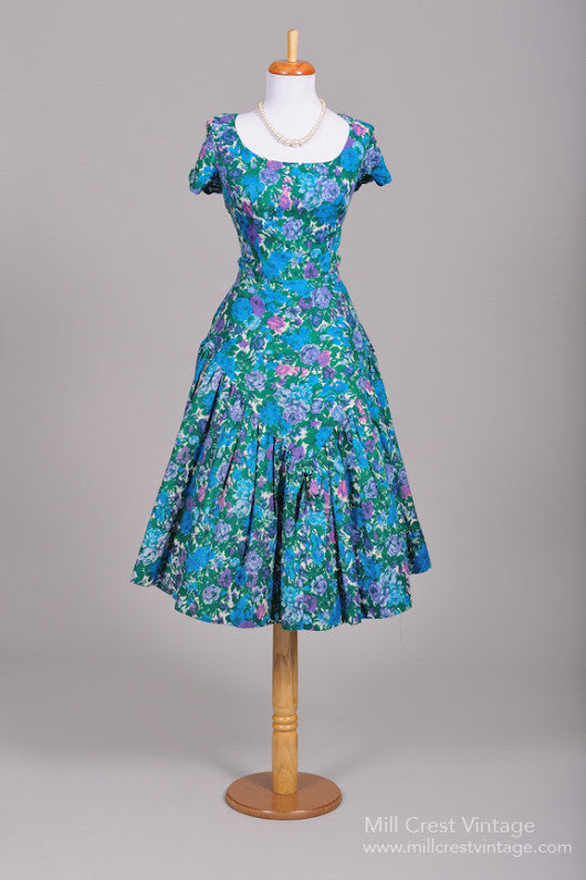 1950 Blue Cotton Vintage Party Dress