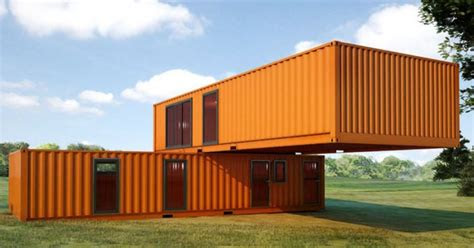 simple shipping container house design   orange big