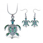 Puzzled Sparkling Sea Turtle Necklace and Earrings Set Charming Necklace and Earring Set - Ocean \ Sea Life Theme - Aqua Jewellery Always Unique Gift