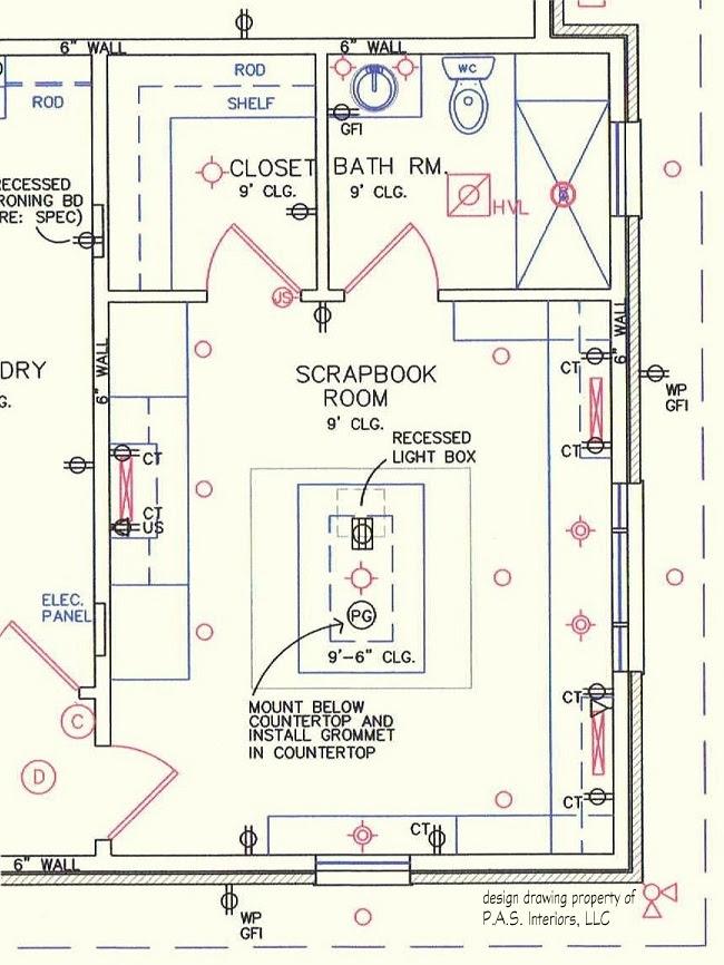 Scrapbook Craft Room Lighting and Power Locations