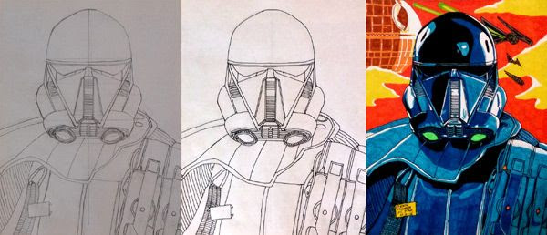 Work-in-progress photos of my Death Trooper drawing.
