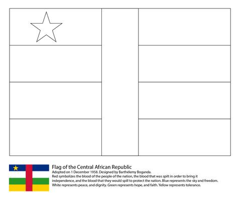 中央アフリカ共和国の国旗 ぬりえ